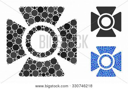 Searchlight Mosaic Of Spheric Dots In Different Sizes And Color Tones, Based On Searchlight Icon. Ve