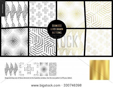 Hand Drawn Patterns - A Group Set Of Eight Abstract Seamless Patterns - Black, Gold And White. Geome