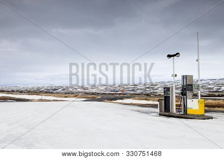 The One Gas Pump Along The Desolate F26 Road In Iceland
