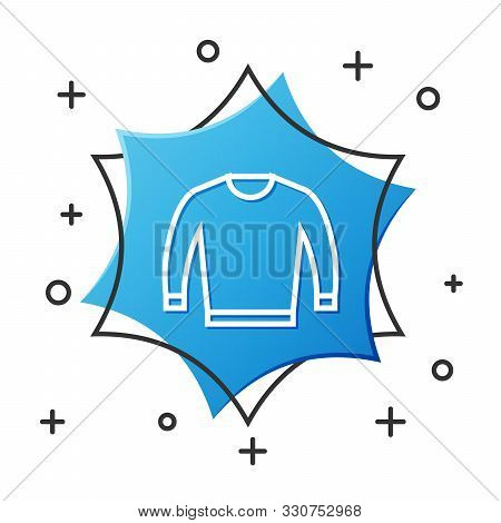 White Line Sweater Icon Isolated On White Background. Pullover Icon. Blue Hexagon Button. Vector Ill