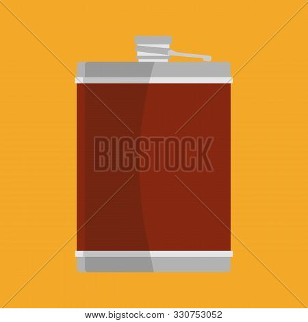 Hip Flask Vector Flat Icon Illustration Container Drink. Bottle Accessory Whiskey. Metal Quirky Trav