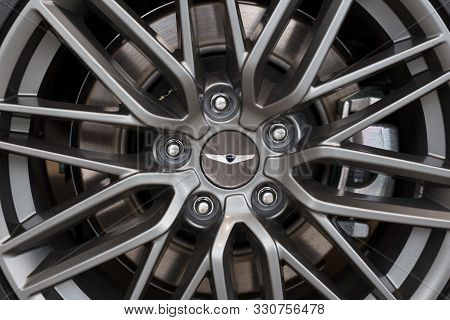 Russia, Izhevsk - October 10, 2019: Hyundai Showroom. The Alloy Wheel Of A New Genesis G70. Cropped