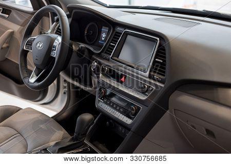 Russia, Izhevsk - October 10, 2019: Hyundai Showroom. Interior Of New Modern Sonata Car With Automat