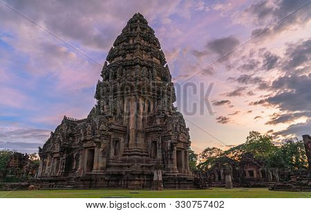 The Beautiful Stone Castle In Phimai Historical Park. Prasat Hin Phimai Ancient Khmer Temple In Nakh