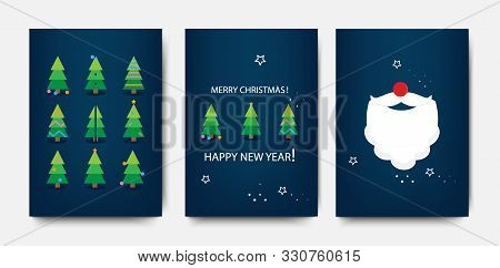 Merry Christmas Template Set With Holiday Xmas Trees And Santa Claus. Christmas And New Year Design