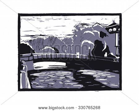 Ancient Northern City With Canals. Travel Sketch. Vintage Hand Drawn Ink Postcard Template