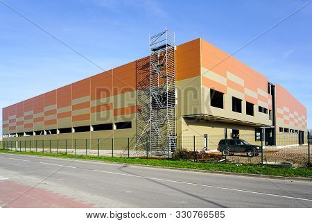 Facade Of New Factory Building Made Of Thermo Insulated Aluminium Panels