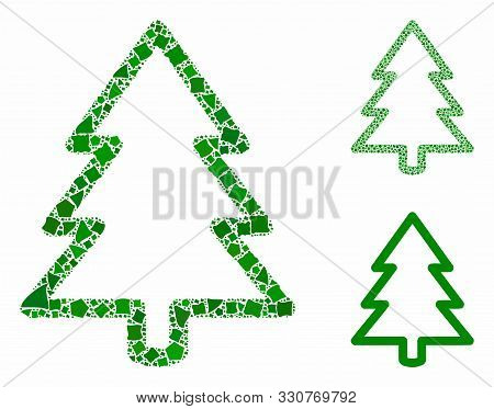Fir-tree Composition Of Unequal Elements In Various Sizes And Shades, Based On Fir-tree Icon. Vector