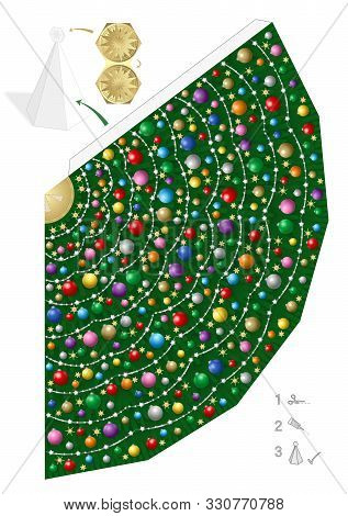 Colorful Christmas Tree Paper Model. Creative Fun For Kindergarten, School Or Private Handicraft Les
