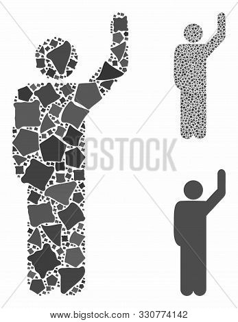 Hitchhike Pose Mosaic Of Abrupt Elements In Variable Sizes And Color Hues, Based On Hitchhike Pose I
