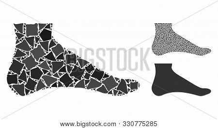 Foot Composition Of Abrupt Pieces In Various Sizes And Shades, Based On Foot Icon. Vector Abrupt Pie