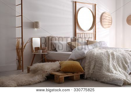 Stylish Modern Room Interior With  Comfortable Bed