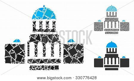 Government Buildings Composition Of Rough Elements In Various Sizes And Color Hues, Based On Governm