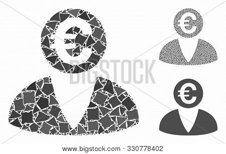Euro Banker Mosaic Of Ragged Parts In Different Sizes And Color Tints, Based On Euro Banker Icon. Ve