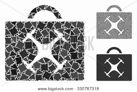 Drone Toolbox Mosaic Of Humpy Pieces In Different Sizes And Shades, Based On Drone Toolbox Icon. Vec