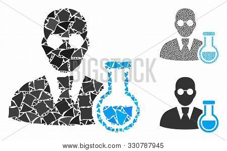 Chemist Composition Of Humpy Pieces In Different Sizes And Color Tints, Based On Chemist Icon. Vecto