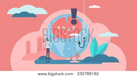 Fake Vector Illustration. Flat Tiny False And Cheat Information Persons Concept. Lack Of Honesty And