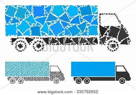 Wagon Mosaic Of Raggy Parts In Different Sizes And Color Hues, Based On Wagon Icon. Vector Unequal P