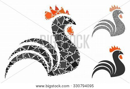 Rooster mosaic of unequal items in variable sizes and color tinges, based on rooster icon. Vector raggy items are combined into mosaic. Rooster icons collage with dotted pattern. poster