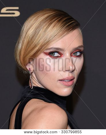 LOS ANGELES - OCT 14:  Scarlett Johansson arrives for the ELLE Women in Hollywood on October 14, 2019 in Westwood, CA