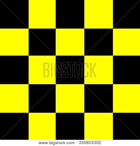 Square Black And Yellow For Background, Seamless Checker Yellow And Black Pattern, Chessboard Tiles