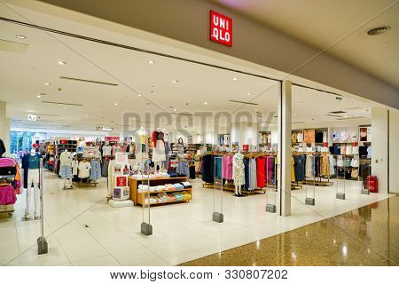 SHENZHEN, CHINA - APRIL 22, 2019: entrance to Uni Qlo store in Shenzhen.  Uniqlo Co., Ltd. is a Japanese casual wear designer, manufacturer and retailer.