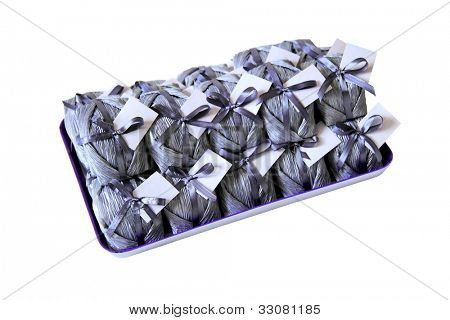 Bem casado - wedding sweet treat on a tray isolated on white background