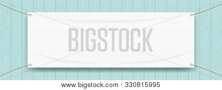 Vinyl Banner Blank White Isolated On Wood Blue Pastel Color, White Mock Up Textile Fabric Empty For