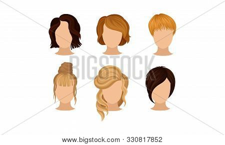 Different Hairstyles Vector Illustrated Set. Woman Hairdo Concept