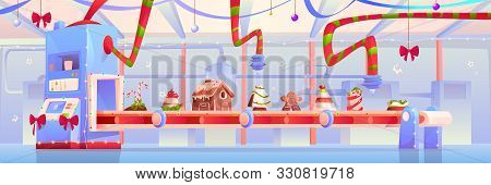 Conveyor With Christmas Candy And Sweets, Gingerbread House, Pudding, Traditional Xmas Bakery, Desse