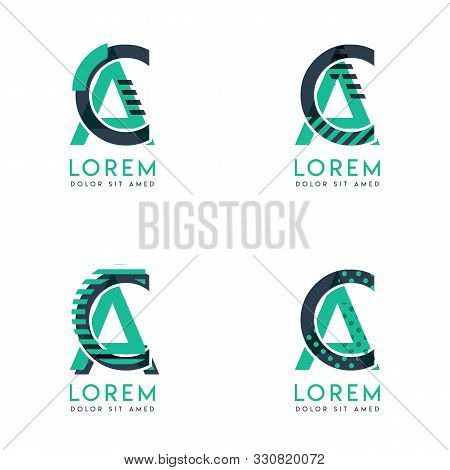 Four Abstract Ca Logo Posts Set With Dot And Slash, Green And Black. Very Suitable For Corporate Ide