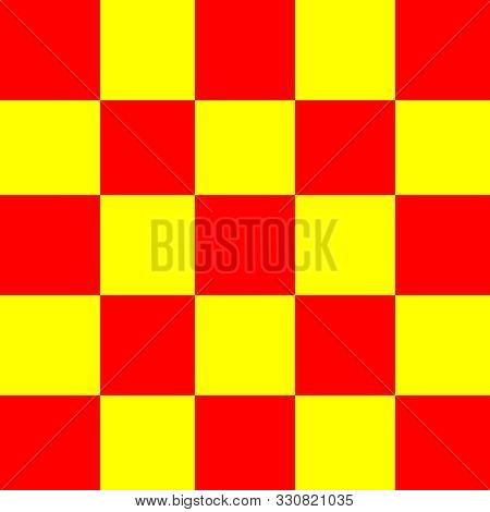 Square Red And Yellow For Background, Seamless Checker Yellow And Red Pattern, Chessboard Tiles Squr