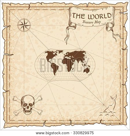 World Treasure Map. Pirate Navigation Atlas. Wagner Projection. Old Map Vector.