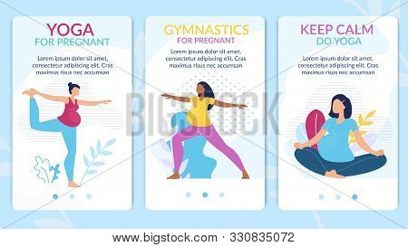 Yoga Courses, Gymnastics Classes For Pregnant Trendy Flat Vector Vertical Web Banners, Landing Pages
