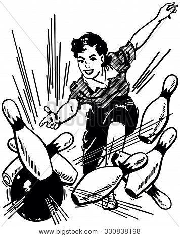 Woman Bowling Strike