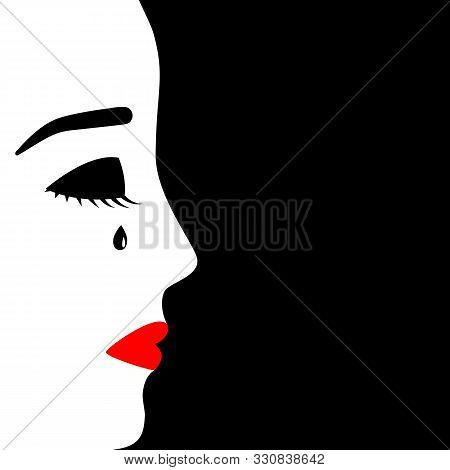 Face Of Young Crying Girl, Profile View. Depressed Mood, Frustration, Grief, Melancholy, Yearning. V