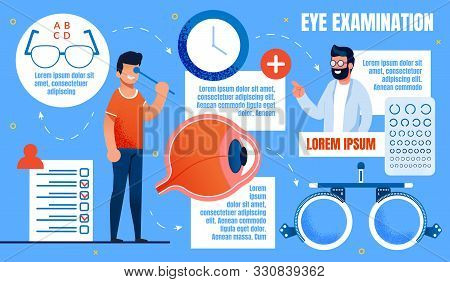 Bright Banner Inscription Eye Examination, Health. Close Up Mans Eyeball. An Ophthalmologist Examine