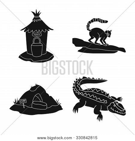 poster of Vector illustration of fauna and entertainment logo. Collection of fauna and park stock vector illustration.