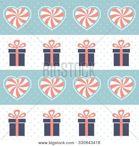 Christmas Pattern. Seamless Vector Illustration With Heart-shaped Candies And Gift Boxes