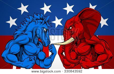 A Blue Donkey And Red Elephant Fighting. American Politics Election Concept With Animal Mascots Of T