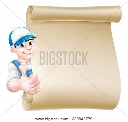 A Cartoon Mechanic, Plumber, Handyman, Decorator Or Gardener Leaning Around A Scroll And Giving A Th