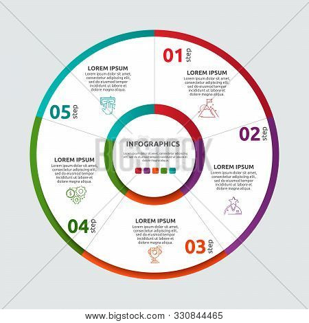Vector Flat Template Circle And Sector Infographics. Business Concept With 5 Sectors. Five Steps For