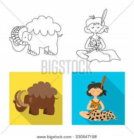 Vector Illustration Of Evolution And Prehistory Sign. Set Of Evolution And Development Vector Icon F