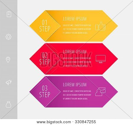 Vector Infographic Flat Template. Rhombus With Label For Three Diagrams, Graph, Flowchart, Timeline,