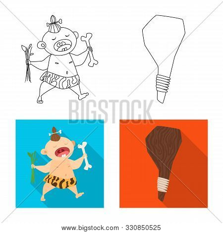 Isolated Object Of Evolution And Prehistory Logo. Set Of Evolution And Development Stock Vector Illu
