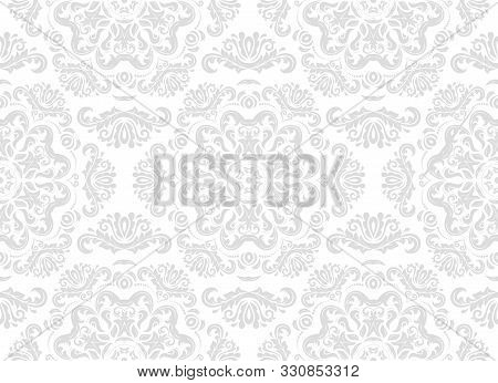 Orient Vector Classic Light Silver Pattern. Seamless Abstract Background With Vintage Elements. Orie