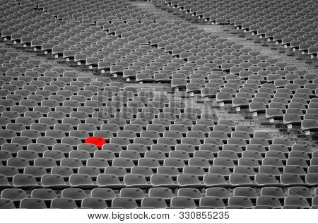 Football Stadium With Empty Seats. Outstanding Empty Red Plastic Chair At Soccer Arena. Row Of Unocc