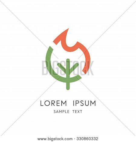 Burning Tree Logo - Wood Fuel And Flame Symbol. Forest Fire And Wildfire Vector Icon.