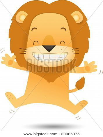 Lino The Lion Jumping With Happy