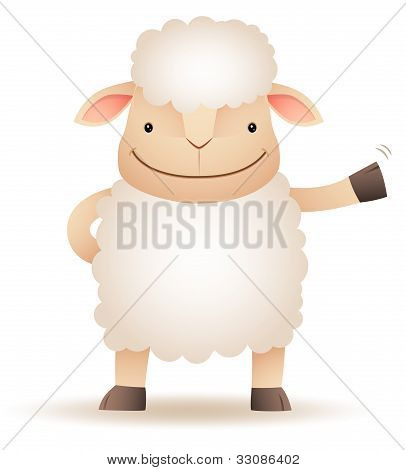 Shepy The Sheep Smile And Waving Hand